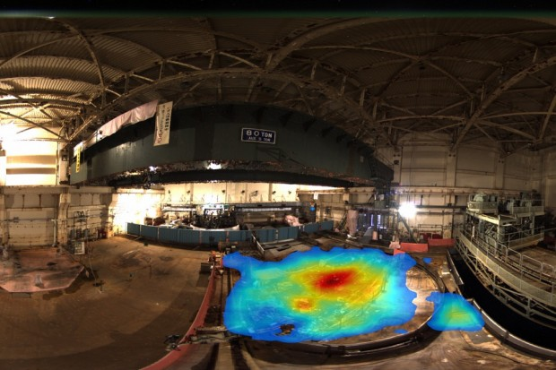 The lightweight laser scanner combined with gamma imaging shows, above, the distribution of radioactivity used internationally