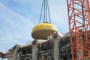 The upper lid is removed from Unit 4 at Fukushima Dai-ichi.