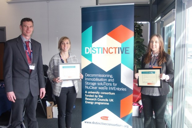 Rick Short, NDA's Research Manager, with PhD students Claudia Gasparrini and Sophie Rennie who collected awards for their top-quality contributions at DISTINCTIVE conference 2016
