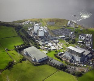 Aerial view of Hunterston A nuclear site, Ayrshire coast, Scotland