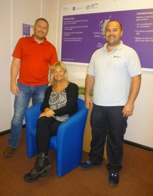 Employees who transferred from Wylfa to Trawsfynydd: (left to right) Adrian Owen, Jill Zanolin, and John Bain