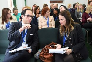 Nikos Adamidis with colleagues at Women In Nuclear UK conference