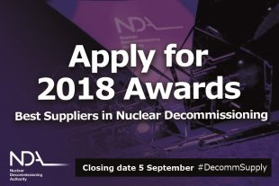 Apply for 2018 Awards: suppliers in nuclear decommissioning