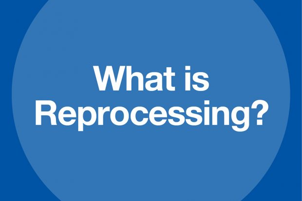 A blue poster saying 'What is reprocessing'