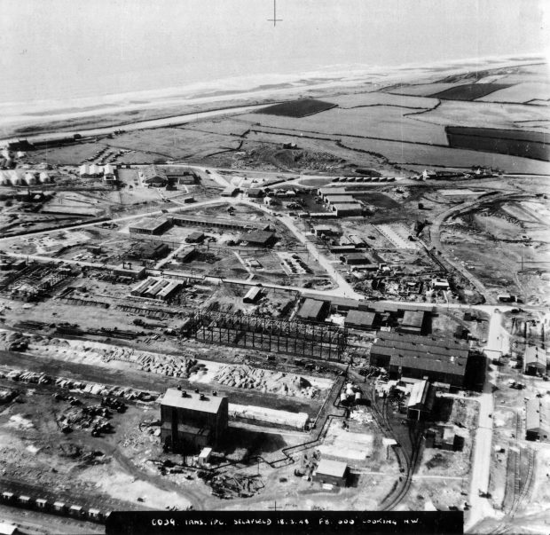 A black and white picture of the sellafield site when the MOD owned it