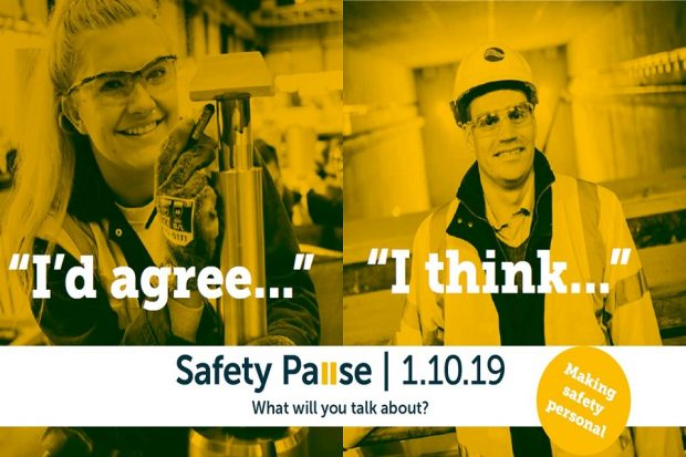 A Safety Pause post with 2 Sellafield Ltd employees with captions saying 'I agree' and 'I think'