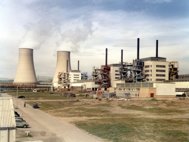 A full view of Calder Hall including cooling towers and turbine halls