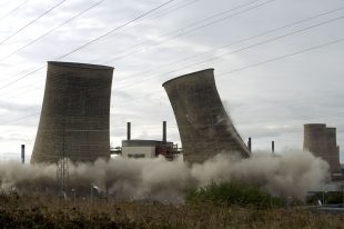 The Calder Hall Cooling Towers being demolished on the Sellafield site