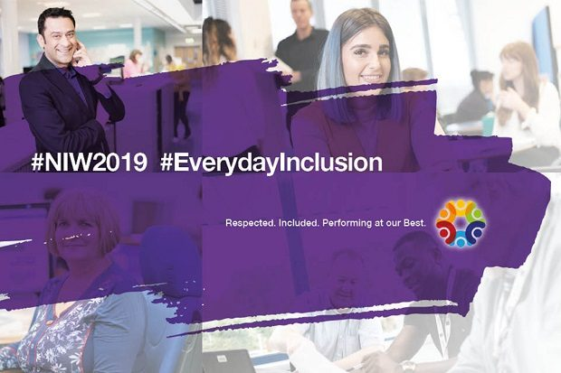 This is a graphic that includes the hashtags NIW2019 and EverydayInclusion
