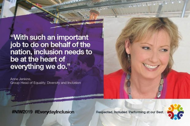 """Anne Jenkins, Head of Equality, Diversity and Inclusion says """"With such an important job to do on behalf of the nation, inclusion needs to be at the heart of everything we do."""""""