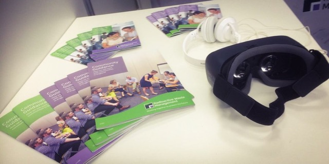 Image of RWM brochures and VR equipment at TUC 2019 event