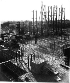 Black and white image of the Windscale piles being constructed in the 1940s