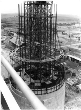 Black and White image of the top filters of the Windscale Pile Chimneys