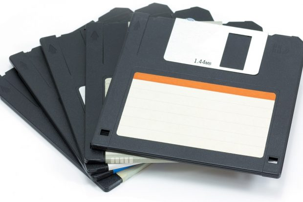 A handful of obsolete floppy disks