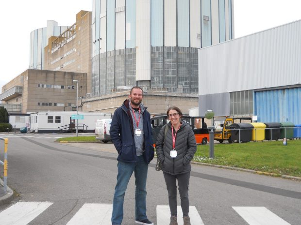 Jenny Mitcham and Paul Wheatley from the DPC outside Oldbury's reactor building