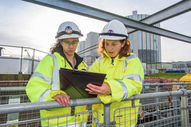 Two young female apprentices at a nuclear site
