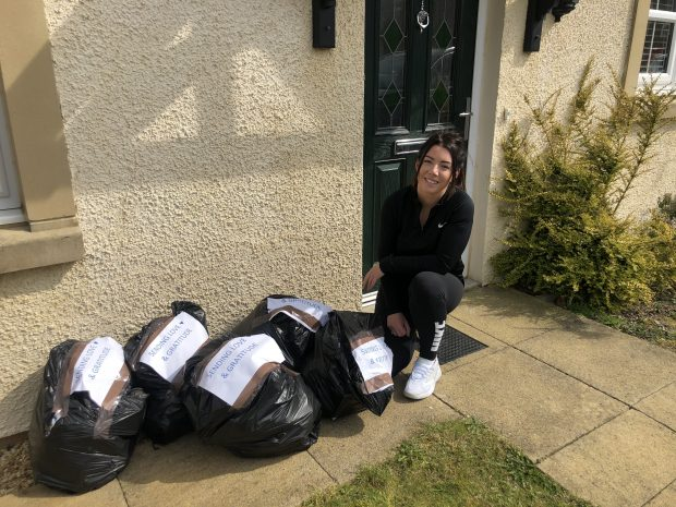 Shona Cunningham pictured with care packs to deliver
